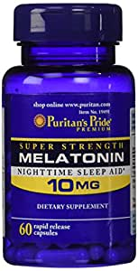 Puritan's Pride Super Strength Melatonin 10mg Rapid Release Capsules, 60-Count