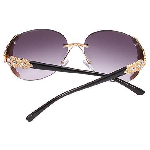 mujer diamantes sin Gafas enmarcadas Gafas moda de de Gafas sol de Dorado de Gris de sol Inlefen con marco sol sol Gafas de wRdIqZpO