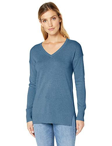 Amazon Essentials Women's Lightweight V-Neck Sweater, Blue Heather, Small