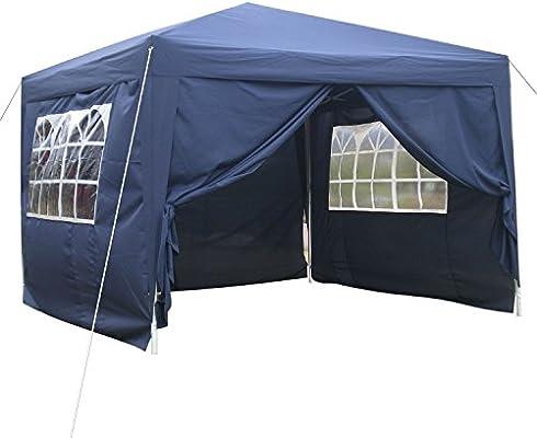 Qulista Carpa Pabellón Plegable 3x3 / 3x6 / 2.5x2.5 / 3x3M Tienda de campaña Impermeable Cenador Gazebo con Ventanas para Fiestas Tiendas Eventos Boda o Picnic (Pabellón: 3 x 3 x 2.6 M, Azul): Amazon.es: Jardín