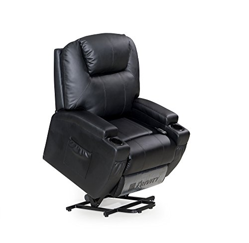 LCH Power Lift Recliner Chair Classic and Traditional Bonded Leather 1 Seat Sofa Lift Chair with Padded Arms and Back (Black-Lift)