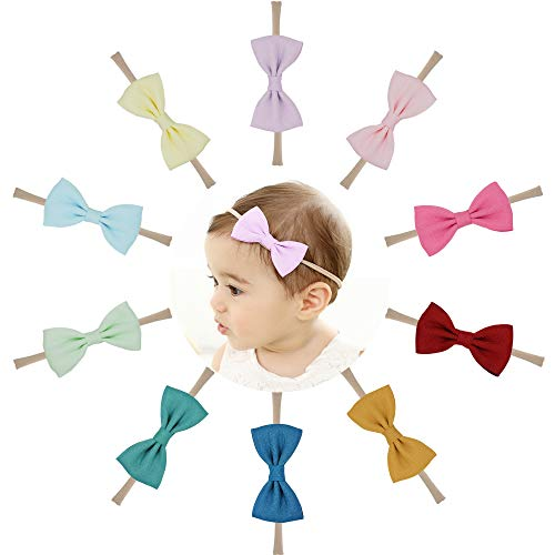 Baby Nylon Headbands Hairbands Hair Bow Elastics for Baby Girls Newborn Infant (Super elastic-G)