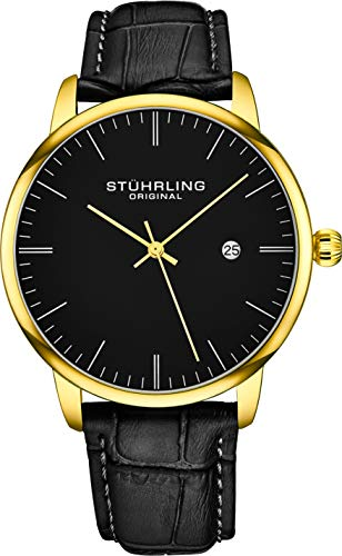 Stuhrling Original Mens Watch Calfskin Leather Strap - Dress + Casual Design - Analog Watch Dial with Date, 3997Z Watches for Men Collection (Black Gold)