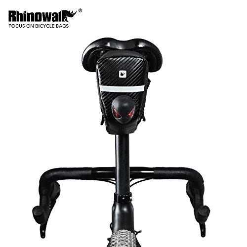 Rhinowalk Waterproof Bike Saddle Bag Bicycle Bag Under seat Bag Rainproof Mountain Road Bike Seat Bag Bicycle Bag Professional Cycling Accessories (Carbon-Black) by Rhinowalk (Image #4)