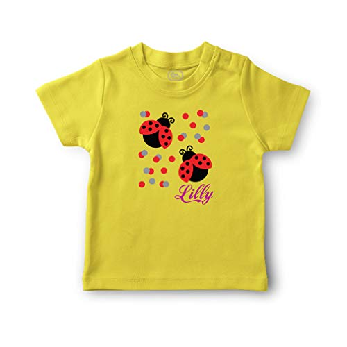 Personalized Custom Two Cute Ladybugs Cotton Short Sleeve Crewneck Boys-Girls Toddler T-Shirt Jersey - Yellow Zest, 6 Months