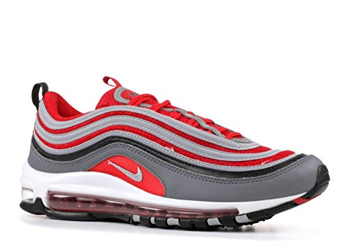 NIKE Men's Air Max 97, Dark GreyWolf Grey Gym RED, 8 M US