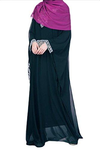 Coolred-femmes Musulmanes Strass En Mousseline De Soie Manches Chauve-souris Caftans Pure Couleur Vert Noirâtre