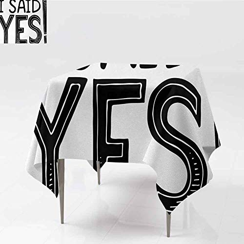 DILITECK Polyester Tablecloth Engagement Party I Said Yes Quote Happiness Striped Letters Announcement Artwork Print Great for Buffet Table W63 xL63 Black and White