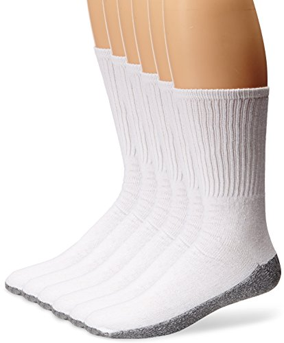 Dickies Men's All-Purpose Work Stain Resister Crew Socks (6/12 Packs), White (6 Pair), Shoe Size: 6-12