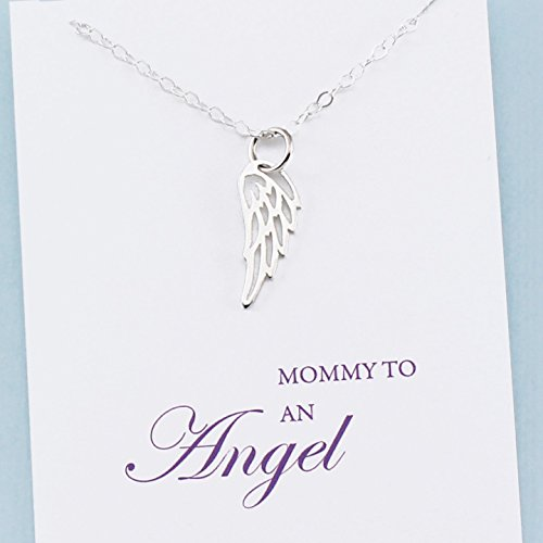 (Mommy to an Angel • Mother's Remembrance Necklace • Sterling Silver • Tiny Wing Charm • Child Memorial Jewelry)