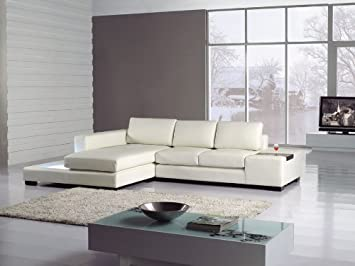 Modern Newport Compact White Leather Sectional Sofa Part 48