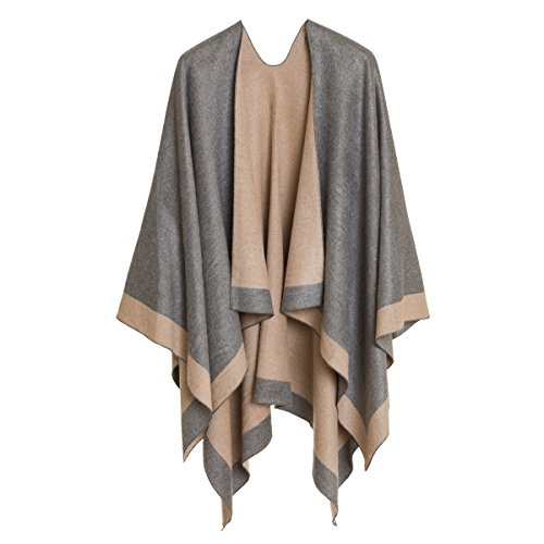 Cardigan Poncho Cape: Women Elegant Gray Beige Reversible Cardigan Shawl Wrap Sweater Coat for Winter (Light Gray Beige) by MELIFLUOS DESIGNED IN SPAIN