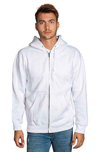 - Zeratova Stylish Full Zip Up Hoodie for Men's Boys- Pullover Active EcoSmart Jacket with Long Sleeves, Fleece Lining & Pockets - Zippered Sweatshirt for Sports & Casual Grab Outfits - (White, L)