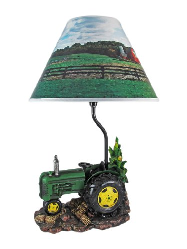 Green Farm Tractor 19 Inch Table Lamp Country