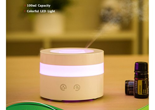 l-size USB 100ml Aroma Essential Oil Diffuser Ultrasonic Air Humidifier Ultrasonic Cool Mist for Car Bedroom Baby Kids Home Office Spa (Travel Diffuser)