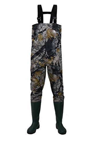 CaoBin Cleated Fishing Hunting Waders For Men With Boots 2-Ply Nylon/PVC Hunting Boot Waders (Camo, 13)