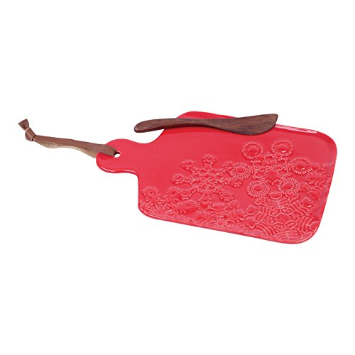 FLOOR | 9 Christmas / Holiday Red Glazed Embossed Snowflake Plate and Spreader Set, Small