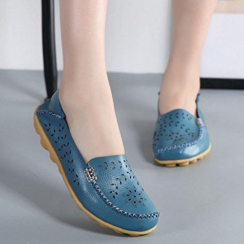 Lingtom Womens Tillfälliga Läder Loafers Flata Driv Slip-on Skor Ljusblå