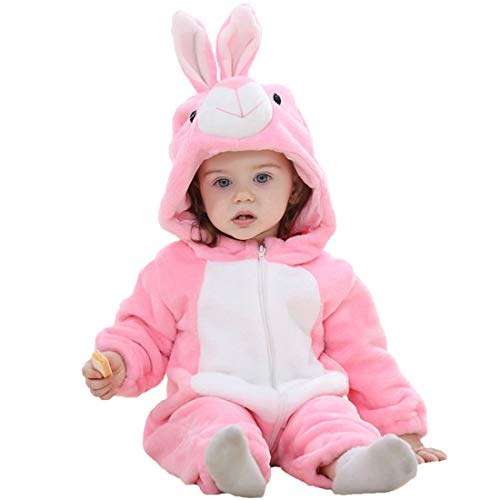 ALLAIBB Unisex Baby Halloween Costume Cosplay Animal Warm Flannel Outerwear Romper Size 6-12M (Pink Bunny)