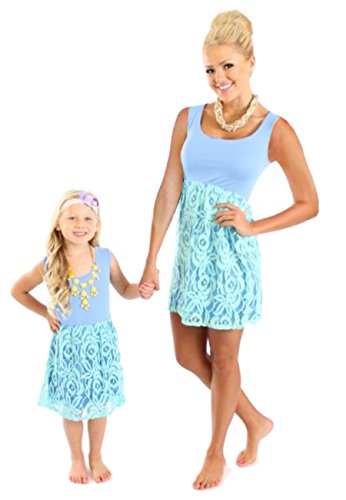 Little Dolls Twin Mommy (OMZIN Mommy Daughter Stitching Casual Family Matching Clothe Blue 1-2 Years)