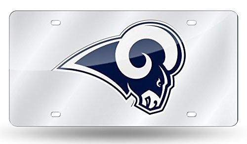 Rico Industries NFL Los Angeles Rams Laser Inlaid Metal License Plate Tag, Silver, Blue, 0.5