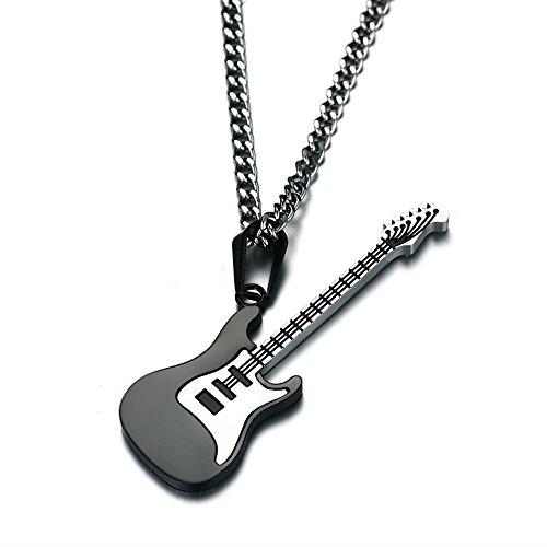 Punk Electric Guitar Bass Music Lovers Pendant Necklace (Black) (Music Guitar Necklace)