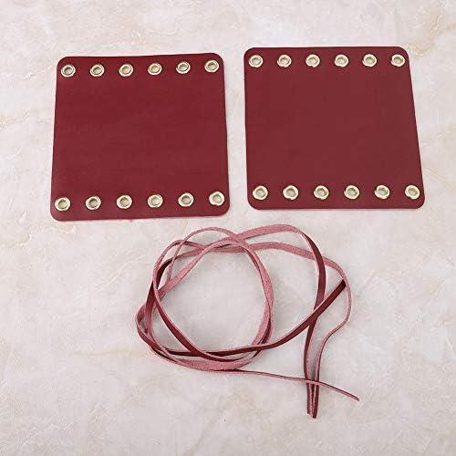 Couvertures de guidon de moto Suuonee Couvre-poign/ées de guidon en cuir de moto 2PCS accessoires de modification de moto vin rouge