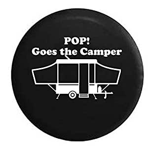 Pike POP! Goes the Camper Popup Camping Trailer RV Spare Tire Cover OEM Vinyl Black 27.5 in