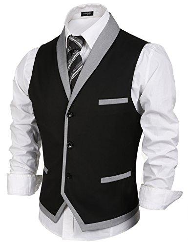 Coofandy Men's V-neck Sleeveless Slim Fit Vest,Jacket Business Suit Dress Vest