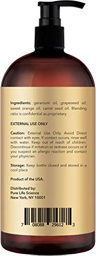 Anti Stretch Marks Massage Oil - All Natural Ingredients - Penetrates Skin 6X Deeper Than Stretch Mark Cream - Targets Unwanted Fat Tissues & Improves Skin Firmness - 8 OZ