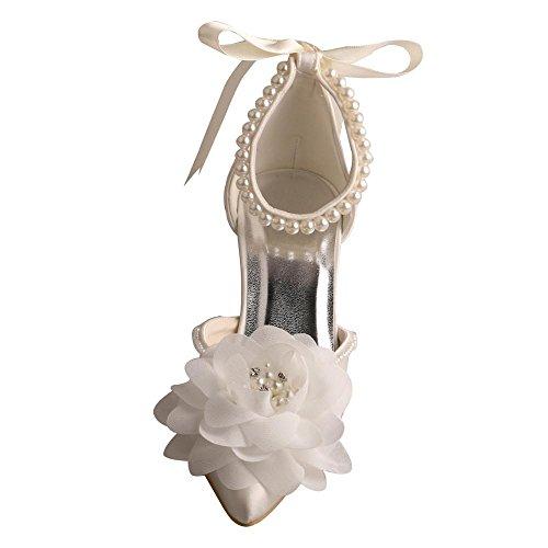Zapatos Marfil Wedopuselegant Mujer Tacón De aRndTRWqFB