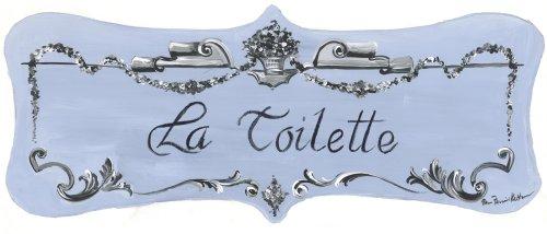Plaque Toilette Wall La - The Stupell Home Decor Collection Light Blue with Scroll La Toilette Castle Edition Bath Plaque