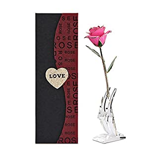 Forever Rose Gold Dipped Roses, 24k Gold Long Stem Rose, Pink Rose Gold Artificial Flower with Display Stand and Gift Box for Valentines Day, Christmas,Wedding, Birthday, Pink 39