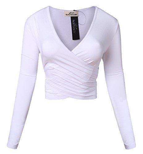 Zerdocean Women's Deep V-Neck Surplice Wrap Slim Fit Crop Top White (Crop Lines)