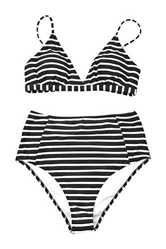 Black And White Striped High Neck Bikini in Australia - 8