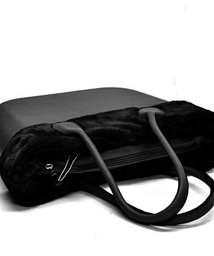 Donna Sacca Smontabile Bordo Spalla Silicone Completa blu Scocca Ricamati Fantasia Bag Nero Pelliccia Pelo Manici Borsa wWgUSEqw