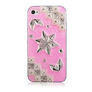 Buy Pink Crystal Special Design Pattern with Pearl Transparent Frame Back Case for iPhone 4/4S