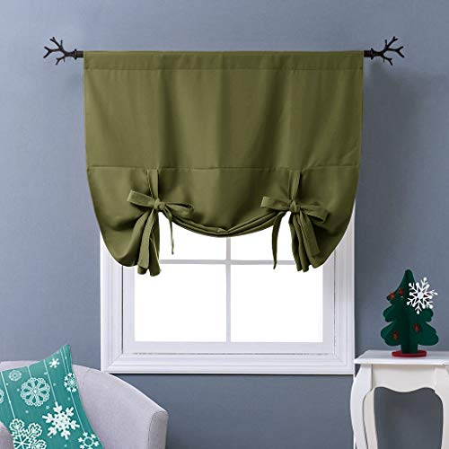 NICETOWN Blackout Tie-Up Valance Curtain - Balloon Shade Corner Window Drape/Drapery (Olive Green, Rod Pocket Panel, 46