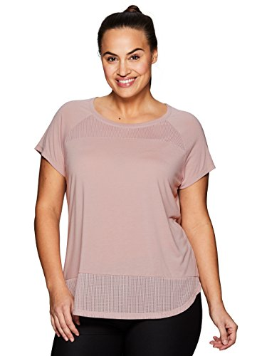 RBX Active Women's Plus Size Yoga Workout T-Shirt With Mesh Pink 1X