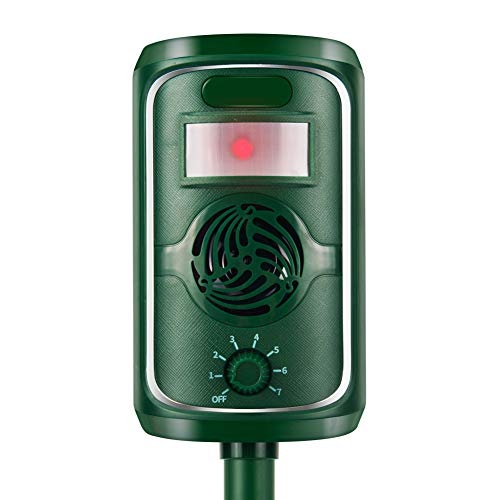 Vensmiles PIR Sensor Solar Animal Repeller Motion Activated with Ultrasonic Sound Waves to Repel Cats Dogs Foxes Martens Rabbits Herons Birds Safe to Human