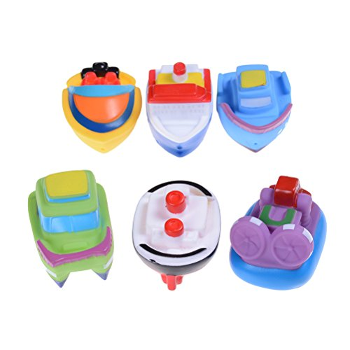 6 Pcs Floating Boat Toys Ship Themed Rubber Bath Squirting Toys For Baby Fun Bathtub Time Ship Old Pc