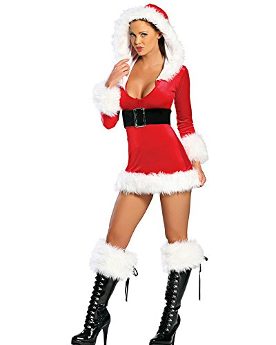 Fashion Queen Red Sassy Santa Costumes Sexy Miss Santa Cosplay Fluffy Trim Mini Dress (One Size, Red)