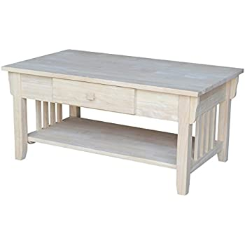 International Concepts OT 61C Mission Coffee Table, Unfinished