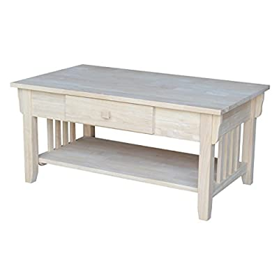 """International Concepts Mission Coffee Table, Unfinished - Dimensions: 37.8""""W x 22""""D x 17.5""""H Made from solid hardwood Includes a butcher block surface Ready to assemble - living-room-furniture, living-room, coffee-tables - 41tleJ%2Bn5pL. SS400  -"""