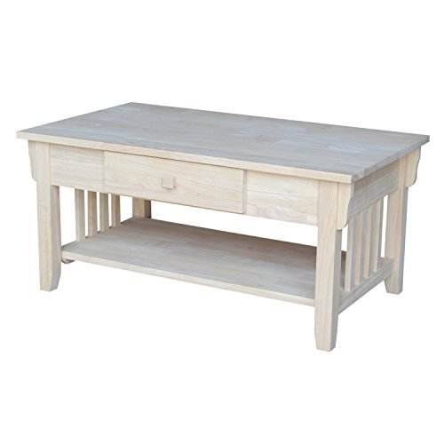 International Concepts OT-61C Mission Coffee Table, Unfinished (Coffee Rectangular Table Mission)