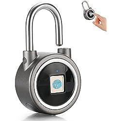 Fingerprint Padlock, 2nd Gen Smart Bluetooth Security Lock Waterproof Anti-Theft Keyless Padlock Outdoor for Gym, Door, Backpack, Luggage Suitcase, Bike, Office (Grey)