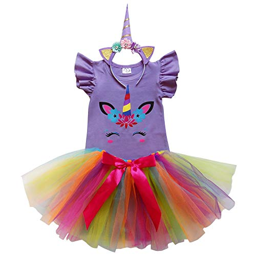So Sydney Toddler Girls Unicorn Tutu Ruffle Dress Skirt & Horn Headband Costume (L (5), Lavender Rainbow Tutu)