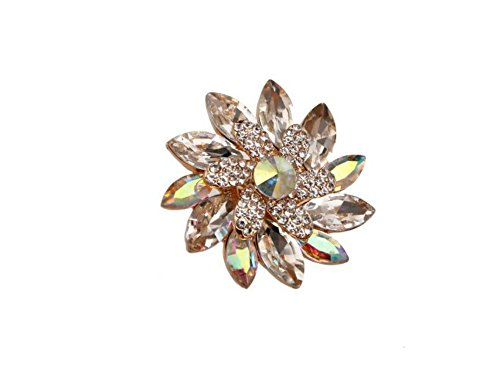 (Occasions Gift Giving Large Crystal Rhinestone Stretch Flower Ring (Aurore Borealis Goldtone))