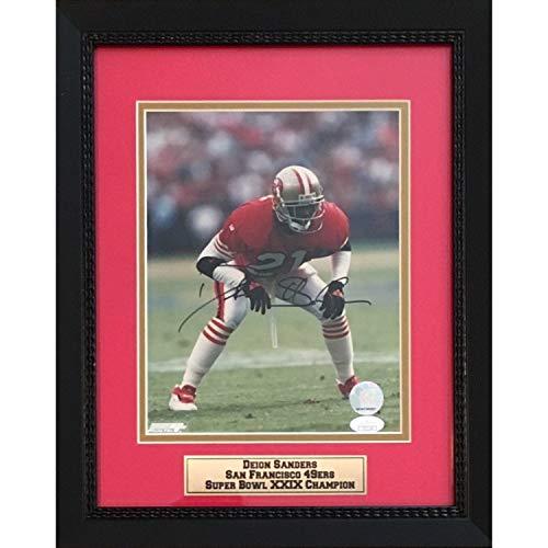 Deion Sanders Autographed San Francisco 49ers Signed 8x10 Football Photo Framed JSA COA