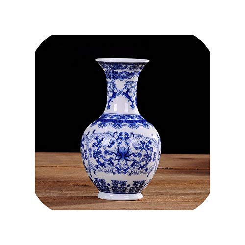 (The Hot Rock Vintage Home Decor Ceramic Flower Vases for Homes Antique Traditional Chinese Blue and White Porcelain Vase for Flowers,Design A1)